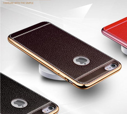 Wholesale Ultra Thin Luxury Leather Grain Case For iPhone S Plus Gold Plating TPU Soft Case Cool Phone Back Cover