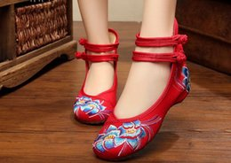 Wholesale EU Bamboo Old Beijing Embroidered Women Shoes Mary Jane Flat Heel Denim Chinese Style Casual Cloth Plus Size Shoes Woman
