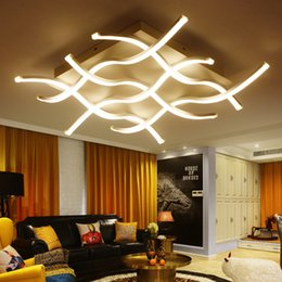 Wholesale LED dimmable ceiling lights postmodern indoor lighting art creative personality wave shape ceiling lamps for theme hotel ho advanced acrylic