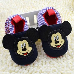 2016 new style Spring and autumn soft bottom slip away shoes Mickey Mouse pure cotton Baby boy and girl prewalker Shoes free shipping.