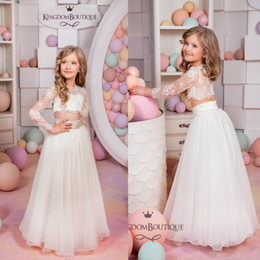 2016 White Lace Two Pieces Boho Flower Girls Dresses for Beach Wedding Long Sleeves Chiffon Floor Length Kids Wedding Party Dresses