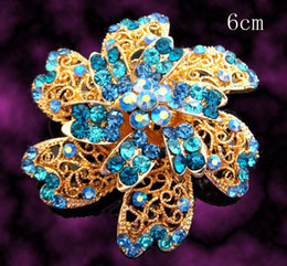 Wholesale hot sell Gold plated flowers Zinc alloy rhinestone Brooches wedding jewelry Free shipping 12pcs lot mixed color BH768