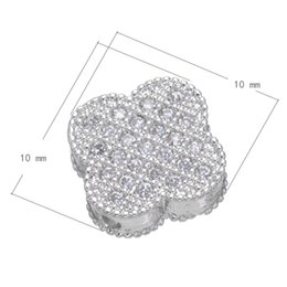 925 Silver Style Cubic Zirconia Micro Pave Brass Beads Flat Flower Platinum Plated 10x10mm Hole:About 1.2mm 15 PCS Lot Free Shipping