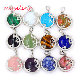 Wholesale Natural Stone Flat Dragon Pendants Silver Plated Amethyst Rose Quartz etc Charms Mascot Reiki Amulet European Fashion Jewelry Mix Order