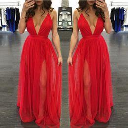 Wholesale Women dress Deep V straps cross dress female Bohemian beach dress summer speed sell through new dress red chiffon yarn beachwear