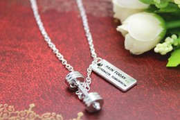 Wholesale Dumbbell barbell weight quot PAIN TODAY STRENGTH TOMORROW quot charm Fitness Weightlifting Gym necklace