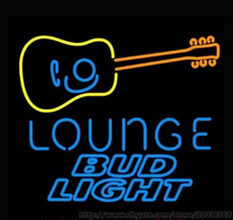 """Hot Bud Light Guitar Lounge Neon Sign Handcrafted Real glass Custom Sign Beer Bar Disco KTV Club Pub Advertisement Display Sign 24""""X24"""""""