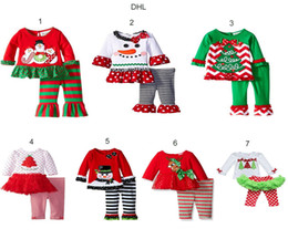 Wholesale 2016 baby Christmas outfit girls christmas tree t shirt ruffle pants sets children polka dot tops kids spring fall new year outfit A0