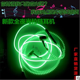 Zipper LED earphone Luminous Headset Wired Control Lighting In-ear Earphones Headphone with Mic for MP3 MP4 Samsung S7 S6 Iphone 6 6s plus