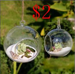 Wholesale 8pieceS DIA CM hanging round glass air plant terrariums bubble crystal balls flower globe vase for wedding ceiling decorations