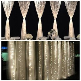 Wholesale 3M x M New Year Christmas LED String Christmas Lights leds v v Fairy Xmas Party Garden Wedding Decoration Curtain Lights Home