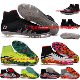 Wholesale 2016 Cheap Men Soccer shoes Leather Neymar NJR X Football Boots Hypervenom Phantom II FG High Ankle Soccer CLeats Top football soccer shoes