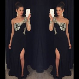 2016 Black One Shoulder Prom Dresses Side Split Sexy Evening Gowns with one sheer long sleeves Beaded Bodice Homecoming dresses