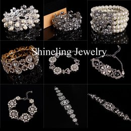 Wholesale New Clear Art Deco Rhinestone Crystal Pearls Stretch Bridal Wedding Bracelet Bangle