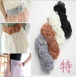 New arrival hot sell flowers fashion deigner chiffon high quality all match elastic belt for women,female cloth direction