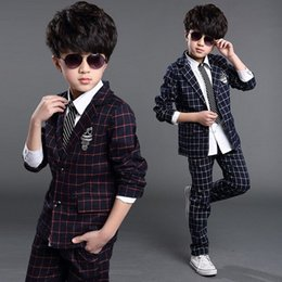2016 New Boys Formal Suits for Weddings Brand England Style 6-14T Child Plaid Formal Party Tuxedos Boys Formal Suits H1048