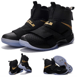 Wholesale with shoes Box LeBron Zoom Soldier X Men Basketball Shoes Black Gold Championship Limited Edition Kids shoes