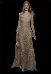 Wholesale 2016 Elegant Elie Saab Evening Dresses Illusion Couture Celebrity Dresses Bodice Tulle Sequins Long Sleeve Gold Cheap Prom Party Gowns pkg