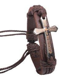 Wholesale 2016 New Fashion Vintage Cow Leather Bracelets Bangles Metal Cross Jesus Charm Bracelet Adjustable Wax Cord Brown Whloesale
