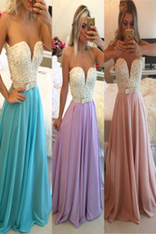 Most Popular A Line Sheer Neckline Floor Length Chiffon Prom Dresses With Pearls Low Back Custom Made Sexy Evening Party Women Dresses