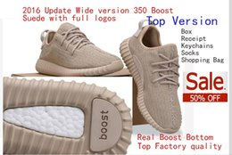 Wholesale Free DHL Oxford Tan Real Boost Wide Bottom Factory Quality Boost Running Shoes With Double Box Receipt Socks Keychains Shopping Bag