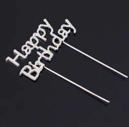 Shiny Rhinestone Happy Birthday Cake Topper plug Letters Crystal Pick Stick Cake Decorating for Birthday Party Cake Decoration gift