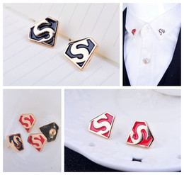 Superman American flag brooch pin male and female models collar shirt collar corner letter S pin brooch jewelry