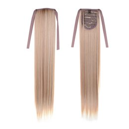 22inch(55cm) Cheapest Long Straight Hair #27 613 Mixed Color Synthetic Hair Clip In Hair Extensions Ribbon Ponytail Pony Tail Hair