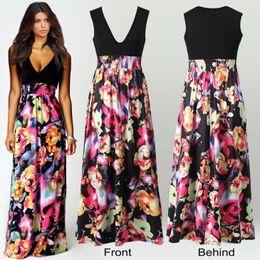 2016 Vintage Women's Floral Maxi Dresses Women Black Print Long Casual deep V Dress Elegant Ladies Sexy Backless Business Party Evening Gow