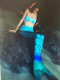 Wholesale 2016 New Halter Bikini Top and Colorful Mermaid Tail Twinset Swimsuit Fashion Sexy Women Swimwear With Steel Bracket And Chest Pad Hot Sale