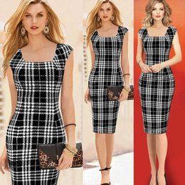 Fashion Summer Women Office Dress New Square Collar Sleeveless Grid Dress Ladies Tank Wear To Office Work Sheath Pencil Party Dresses