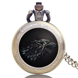 Wholesale The Song Of Ice And Fire Game Of Thrones Pocket Watch Stark Wolf Necklace Silver Tone Necklace Pendant Watches Gift