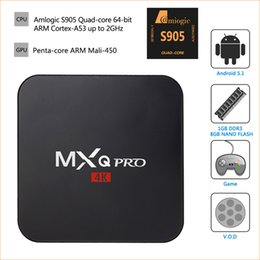 Wholesale MXQ Pro Android TV Box K Amlogic S905 Firmware Updated Online mxq pro k Quad core Smart Mini PC support Wi Fi Kodi pk G Box