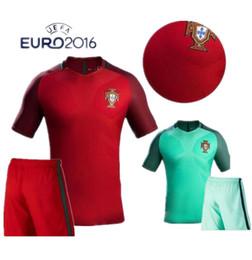 Wholesale 2016 Euro Portugal Jersey Kit Portogallo jersey Sets NANI PEPE GUERREIRO Portuguesa Soccer Jersey Ronaldo Football Suit Uniform With Short