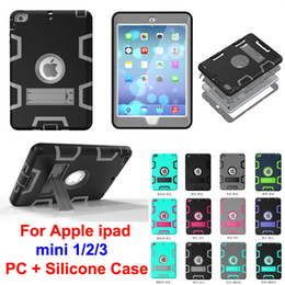 Hybrid 3 in 1 Robot Protection PC + Silicone Dual Color Rubber Skin Stand Shockproof Cover Armor Case for ipad4 ipad 2 3