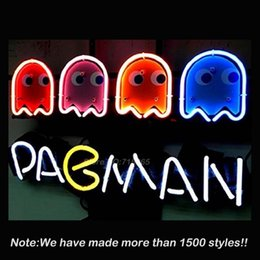 Wholesale New Pacman Game Beer Bar Neon Sign Neon Bulbs Store Display Real Glass Tube Handcraft Recreation Room Garage Beautiful Gift17x14