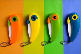 Wholesale-Hot Sales Mini Bird Ceramic Knife Pocket Ceramic Folding Knives Kitchen Fruit Paring Knife Colorful Abs Handle Knife