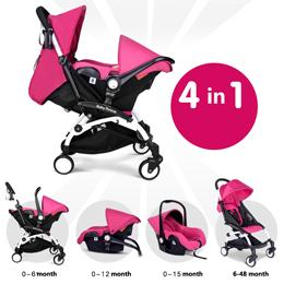 Fashion Baby Stroller 4 in 1 , Pushchair + Safety Car Seat + Cradle + Sleeping Basket, Multifunction Baby Carriage Light Baby Umbrella Cart