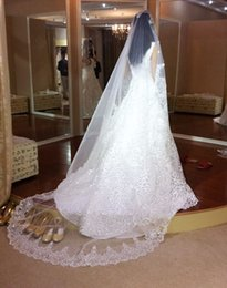 Top New Quality Best Sale Cheap Romantic Fashion Designer White Ivory Cathedral short Lace Applique veil Bridal Head Pieces