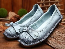 2016 Spring personality national wind retro handmade genuine leather shoes flat shoes soft comfortable women shoes fashion casual shoes