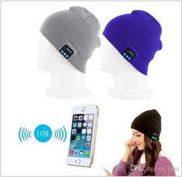 Wholesale Wireless Bluetooth Beanie Hat Pom Pom Headphone Headset Music Audio Cap for Women Men with Speaker Mic Hands Free Outdoor Sports DHL