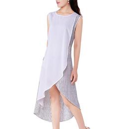 Wholesale New Fashion Women Girls Casual Elegant A Line Dresses Chiffon Linen Long Asymmetric Hem Skirts Round Neck Sleeveless ED000003