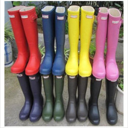 Wholesale 2016 Fashion Hunter Boots Women Wellies Rainboots Ms Glossy Hunter Wellington Rain Boots Wellington Knee Boots Fast Delivery DHL free