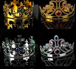 Wholesale Luxury Crown Hats Cosplay Fashion Party Hats Luxury King Queen Crown Tire Prince Princess Crowns Birthday Gold Silver halloween cap DHL