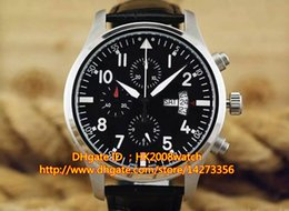 Wholesale New Luxury High Quality Montre d Aviateur Chronographe Edition TOP GUN Automatic Men s Watch IW377701 Black Dial Leather Strap Gents Watches