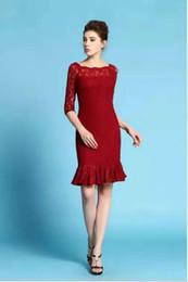 Vestido de las mujeres Un vestido delgado de la manera del trabajo del partido de la falda del cordón del vestido del vestido de la falda del fishtail del vestido del cordón del hombro y de la rodilla desde vestido del hombro del trabajo proveedores