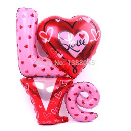 Wholesale New Large Love Letter Shaped Foil Balloons Wedding Party Decoration Bola Valentines Wedding Supplier Air Balls