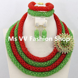 2019 Latest design green red 4 layers African Wedding Jewelry Sets for Brides Indian Wedding Jewelry Sets Bridal Jewelry Free Shipping