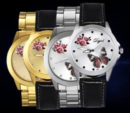 Business Quartz Dress Watch for Mens Fashion Casual Butterfly Flower Pattern Alloy Round Dial Luxury Watch For Man