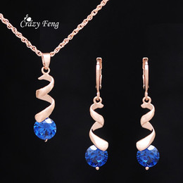 High Quality Wedding Water Drop Earrings Necklaces Set For Women 18K Gold Plated Crystal Sapphire Jewelry Sets